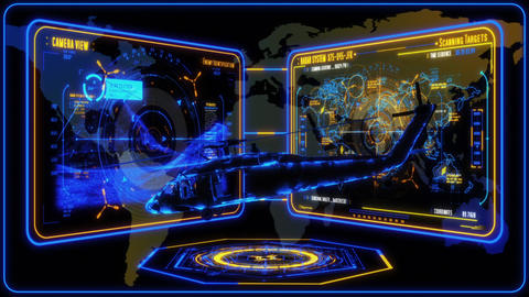 3D Yellow Blue Helicopter HUD Interface Motion Graphic... Stock Video Footage