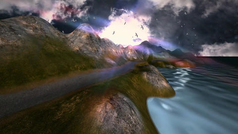 20 3D lanscape with panoramic view of beach and flying seagulls Animation