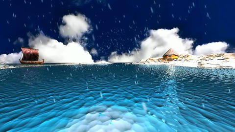 23 animated 3D winter landscape with viking ship on sea and snow falling Animation