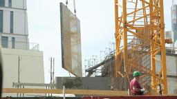 Construction Panel Transport Through Air Footage