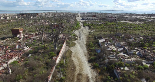 Aerial drone scene of destroyed, demolished, city, neighbourhood. Urban landscap Footage