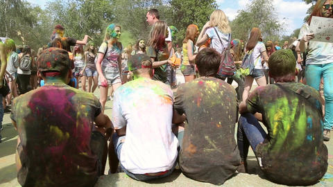 The festival of colors, people throw paints Footage