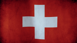 Flag of Switzerland waving in the wind - highly detailed fabric texture - seamle ビデオ