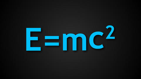 E=mc2 Albert Einsteins physical formula are on black background, mass-energy Footage
