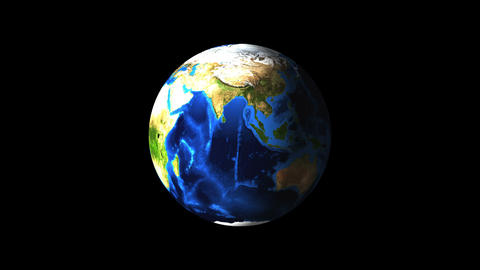 Bright Earth globe in the dark empty space, 3d render background, computer Footage