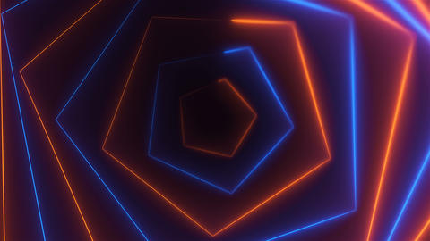 Hexagonal bright long abstract neon tunnel is in the dark space, 3d render Footage