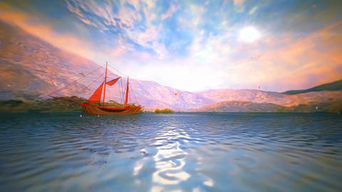 24 3D animated spring lanscape of mountains and sea with red sailing ship Animation