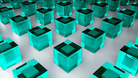 Many glass cubes or ice cubes are on flat surface, 3d render, computer generated Footage