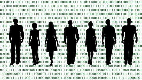 Business Team on the Background of the Binary Code Footage