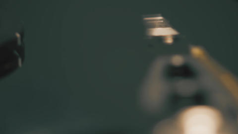 Rotating computer HDD or hard disk drive and moving head, slow motion macro shot Footage