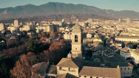 Terni Cathedral and the cityscape in the evening, aerial view. Italy ビデオ
