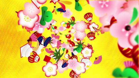 Japanese traditional ornament animation. New Year culture pattern. Gold background. Loop animation CG動画