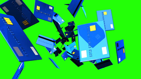 Blue Credit cards on green chroma key Animation
