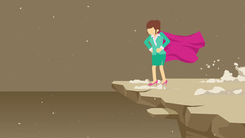 Superhero business woman standing on cliff ready for challenge. Business symbol. Challenge and Animation