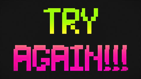 TRY AGAIN Screen Green And Pink Colors GIF