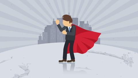 Superhero standing on city background. Dust dance.... Stock Video Footage