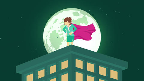 Superhero in moonlight city. Standing over skyscraper. Business woman symbol. Leadership and Animation