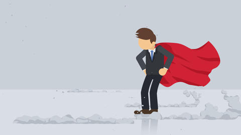 Superhero standing near a cloud of dust. Business symbol. Leadership and Challenge concept. Comic Animation