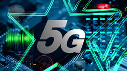 5G text on the background of CPU and smartphone technology GIF