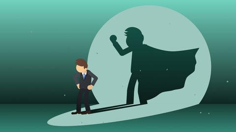 Businessman standing with superhero shadow. Business symbol. Winner and Challenge concept. Comic Animation