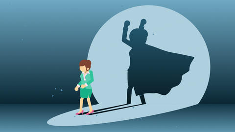 Business woman standing with superhero shadow. Business symbol. Winner and Challenge concept. Comic Animation