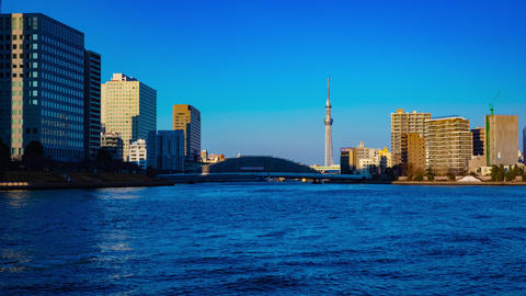 Sunset timelapse day to night at Sumida river in Tokyo Footage