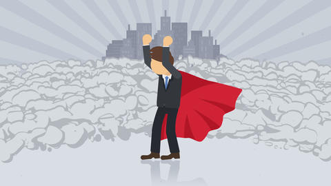 Superhero standing on city background. Near a cloud of dust. Business symbol. Leadership and CG動画