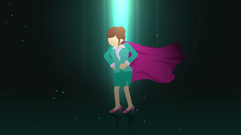 Superhero standing in spotlight. Business woman symbol. Leadership and Achievement concept. Comic CG動画