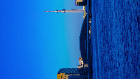 Sunset timelapse day to night at Sumida river in Tokyo vertical Footage