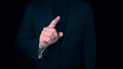 Business Man pointing with finger towards camera to empty placeholder Live Action