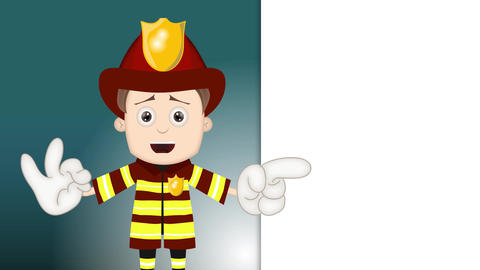 Smart Ben Boy Funny Cartoon Character Toon Fireman with blue background Animation