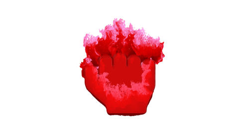 Symbol hand fist inflames with dark fire, then burns. In - Out loop. Alpha channel Premultiplied - Animation