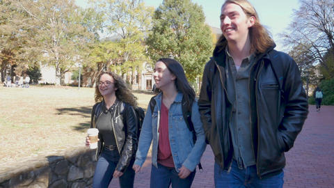 Two beautiful young happy female smiling college students and a handsome young adult male walking Footage