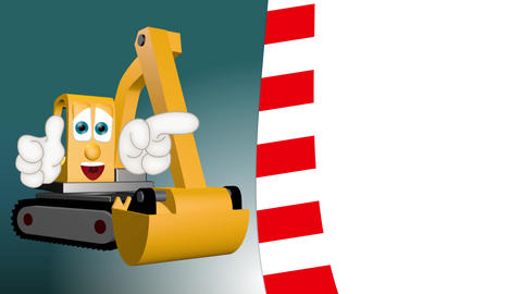 funny excavator cartoon with hands showing to empty placeholder Animation
