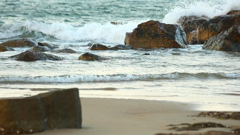 Turquoise Ocean Waves Hitting Rocks Scenery Footage