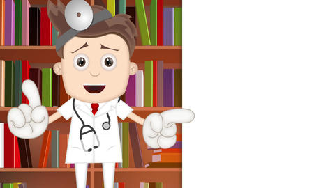 Smart Ben Boy Funny Cartoon Character Toon Docotor in library Animation