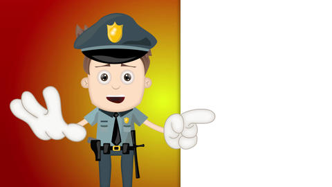 Ben Boy Funny Cartoon Character Toon Police with orange background Animation