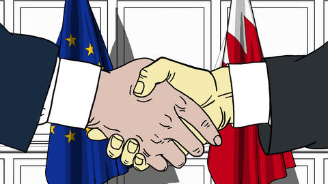 Businessmen or politicians shake hands against flags of EU and Bahrain. Official Footage
