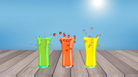 Fruit cocktails on the summer beach with blue sky and sunrise CG動画素材