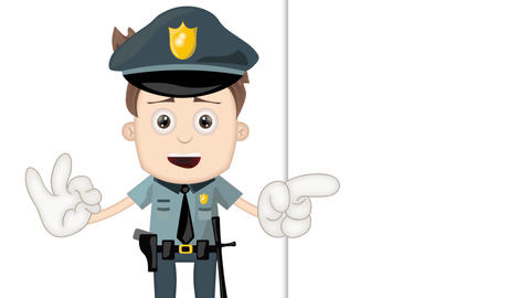 Ben Boy Funny Cartoon Character Toon Police with empty background Animation