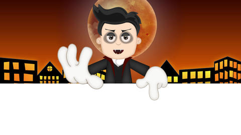 Ben Boy Funny Cartoon Character Toon Vampire with orange town background Animation