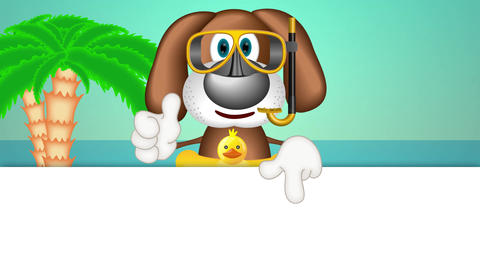Funny Cartoon Dog Summer Holiday Animation Pack