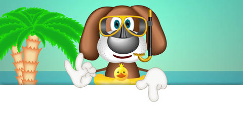 Funny Cartoon Dog Summer Holiday Animation Pack 1