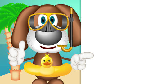 Funny Cartoon Dog Summer Holiday Animation Pack 2