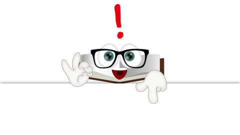 Funny Cartoon Character Book with empty background Animation