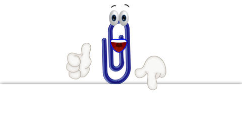 Funny Cartoon Character Paperclip with empty background Animation
