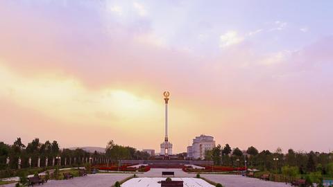 Glitch effect. Stele with the emblem Tajikistan. Dushanbe Footage