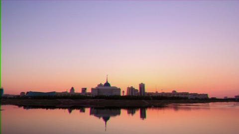 Glitch effect. Presidential Palace on the waterfront. Astana, Kazakhstan, Nur-Sultan Live Action