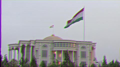 Glitch effect. Flag of the Palais des Nations. Dushanbe, Tajikistan Archivo