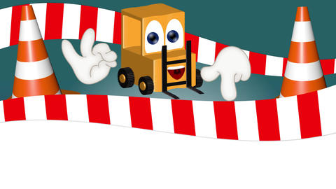 funny forklift cartoon with hands showing to empty placeholder Animation